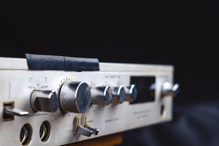 old Soviet audio amplifier, volume controls closeup