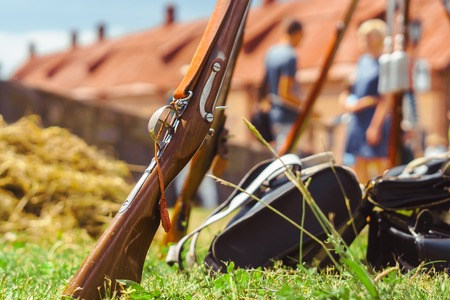 weapons of the 18th century in nature on reconstruction
