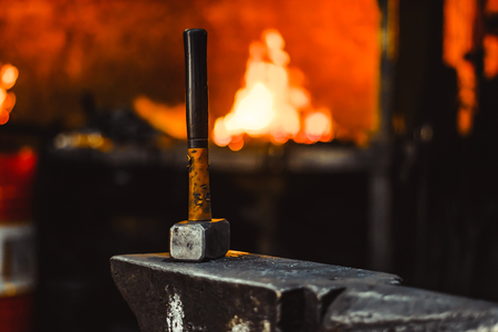 Hand anvil. hummers all blacksmith tools in forge. Imagens