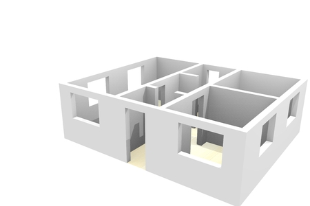 scheme of an empty apartment on a white background