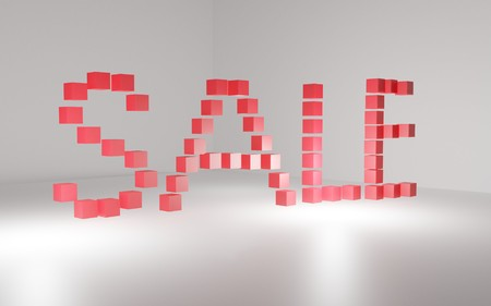 3D inscription sale made of red cubes Standard-Bild - 116357388