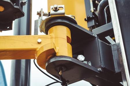 The hydraulic tractor is yellow. Crawler bulldozer at the exhibition Archivio Fotografico