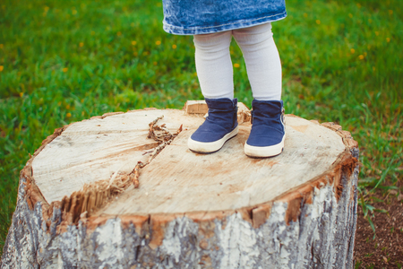 Baby bare feet on the stump with natural wood background. Stock Photo