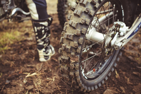 wheel with large tread motocross bike closeup