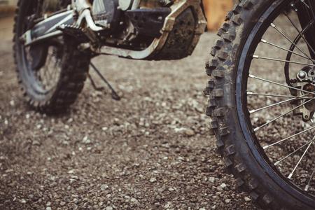 wheel with large tread motocross bike closeup