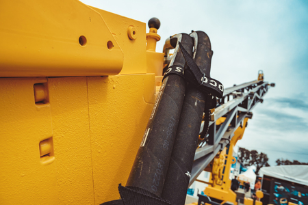 Russia, siberia, Novokuznetsk, 5.06.2018 exhibition mining: Cargo tires are new at the mining exhibition