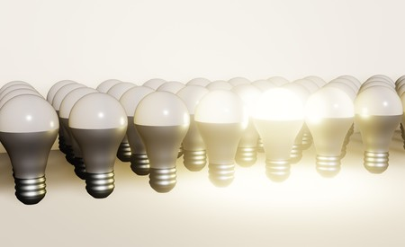 Modern LED lamp isolated 3d, ECO energy concept, close up Banco de Imagens