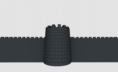 3D medieval tower and a wall of square stones