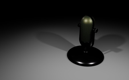 Retro microphone on white table 3D visualization on black background Imagens