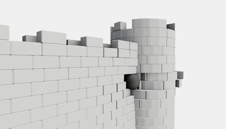 3D model of an ancient castle destroyed by the core Imagens
