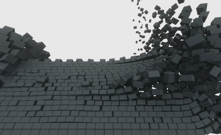 3D model of an ancient castle destroyed by the core 写真素材