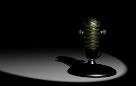 Retro microphone on white table 3D visualization on black background Stockfoto