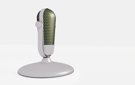 Retro microphone on white table 3D visualization on white background Imagens - 124705711