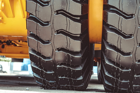 Cargo tires are new at the mining exhibition Imagens - 124706247