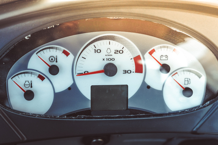 the speedometer of the truck new at the exhibition Stockfoto