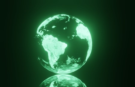 3D planet earth on a glowing black background Stock Photo