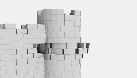 3D model of an ancient castle destroyed by the core Stockfoto
