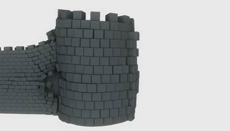 3D model of an ancient castle destroyed by the core Imagens - 124706894