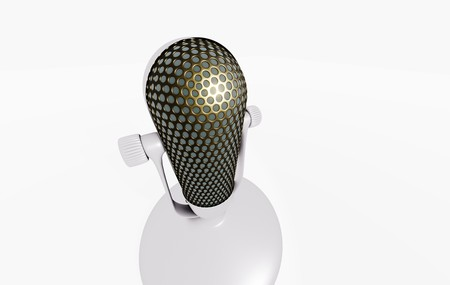 Retro microphone on white table 3D visualization on white background