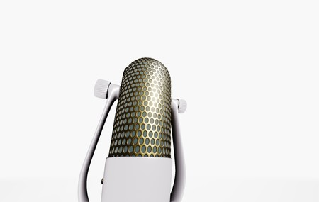 Retro microphone on white table 3D visualization on white background Imagens - 124706904