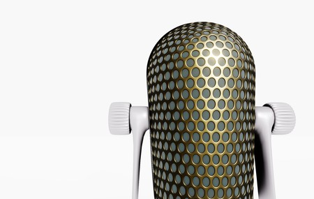 Retro microphone on white table 3D visualization on white background Imagens - 124706925