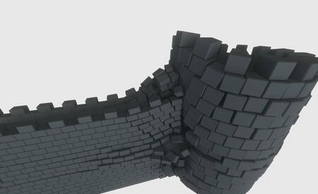 3D model of an ancient castle destroyed by the core Фото со стока