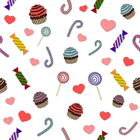 vector pattern of sweets and candies for children Wallpaper Stockfoto