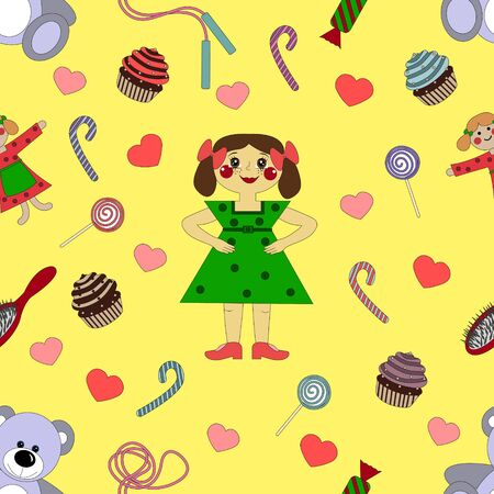 pattern baby girl Wallpaper in the center of sweets and toys on the background