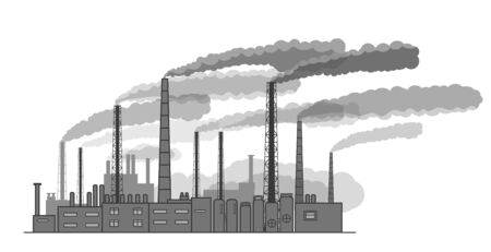 drawing silhouette of industrial factory out of the pipe there is smoke Banque d'images - 130100399