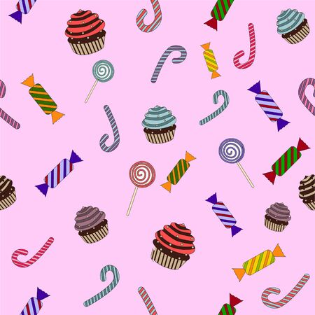 vector pattern of sweets and candies for children Wallpaper Stock Illustratie