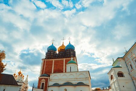 Russian Church with Golden dome on the blue sky, the old Church Archivio Fotografico