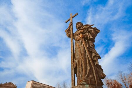 Moscow, Russia-26 October 2019: monument to Prince Vladimir in Moscow against the blue sky and clouds