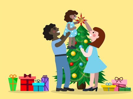 vector drawing of a different ethnic family decorates the Christmas tree