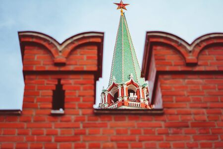 the Kremlin in Moscow tower with a red star against the blue sky Banco de Imagens