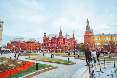 Moscow, Russia-26 October 2019: historical Museum buildings on red square in Moscow in Russia