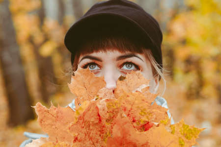 photo of a girl in the autumn forest