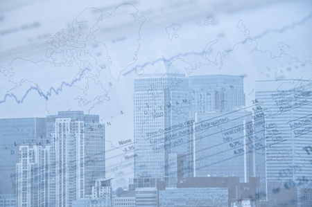 London financial district image with brands removed and image given blue tone to represent cold side of business and finance photo