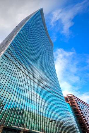 Surreal warped style Business concept financial district modern skyscrapers Stock Photo - 8491925