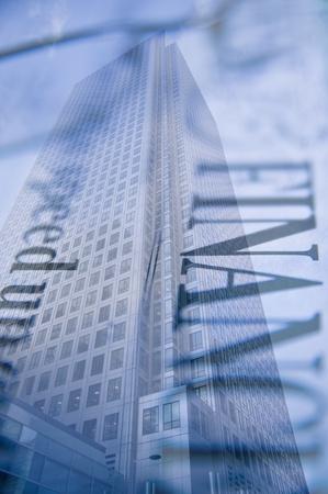 Buusiness Konzept financial District moderne Wolkenkratzer