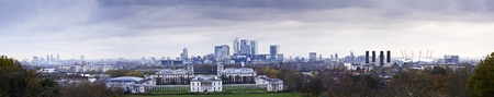 Panorama includes Greenwich Park, Canary Wharf, O2 Milennium Dome, Royal Naval College,  photo