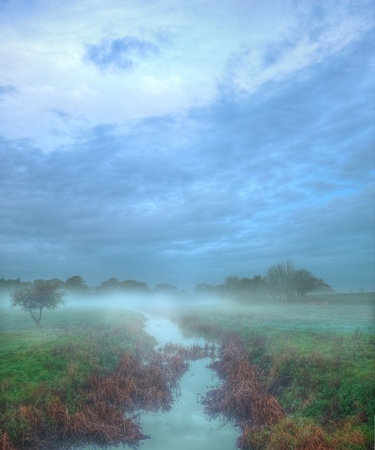 murky: Beautiful Autmn Fall misty morning over stream in countrysaide