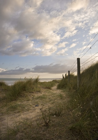 View along path in sand dunes at Littlehampton photo