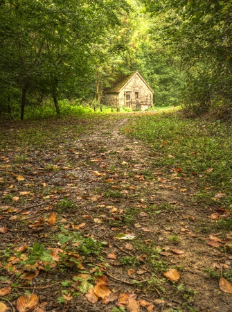 caba�a: Oto�o de escena de bosque, con colores vibrantes y cabina de piedra antigua Foto de archivo