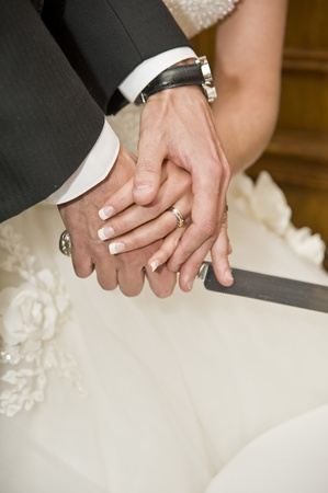 Detail of bride and groom cutting wedding cake after getting married Stock Photo - 8560248