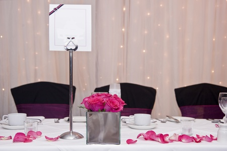 Wedding breakfast top table setting with blank copy space on menu card for your text photo