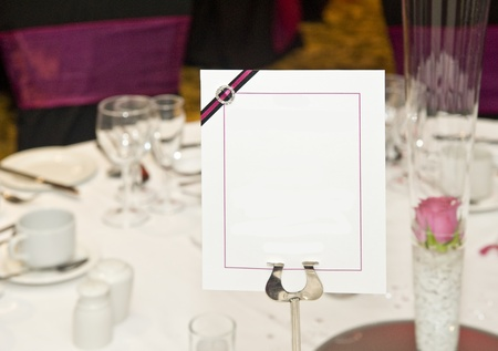 Wedding breakfast table setting with blank copy space for your text photo