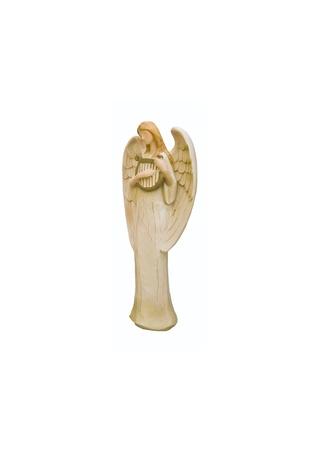 Handmade wooden Christmas angel isolated on white photo