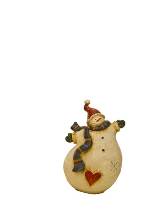 Handmade wooden Christmas snowman isolated on white photo