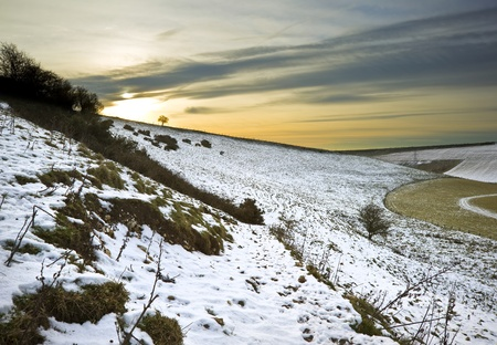 Beautiful Winter landscape over countryside photo