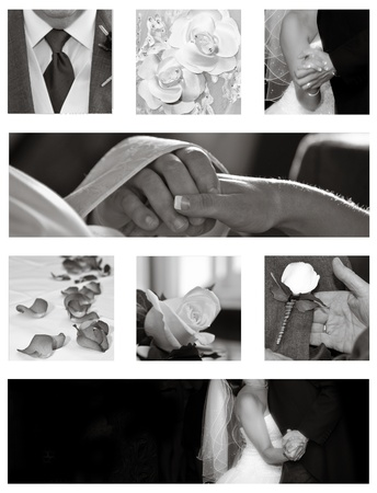 wedding couple: Wedding collage background collection in black and white